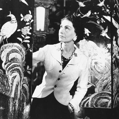 Gabrielle Chanel in front of the Coromandel screens 31 rue Cambon Paris - Chanel Fragrance House