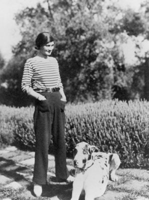 Mademoiselle Chanel at her house La Pausa in the French riviera with her dog Gigot - Chanel Fragrance House