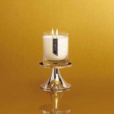large silver candle holder retro pedestal