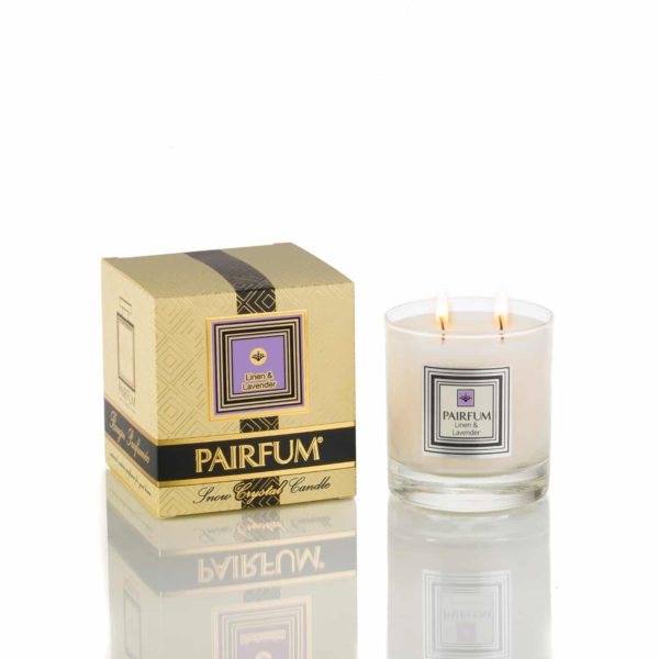 Pairfum Large Snow Crystal Candle Signature Linen Lavender
