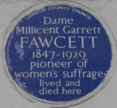 Millicent Garrett Fawcett 2 Gower Street Blue Plaque
