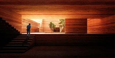 Earth House Iran Coutyard Wood Light