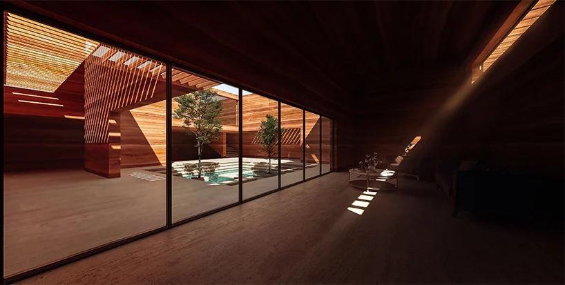 Earth House Iran Coutyard Wood Light Glass
