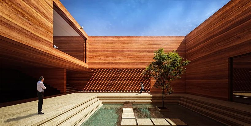 Earth House Iran Coutyard Wood Light Pond