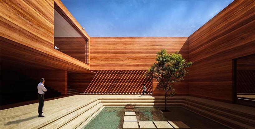 Earth House Iran Coutyard Wood Light Pond