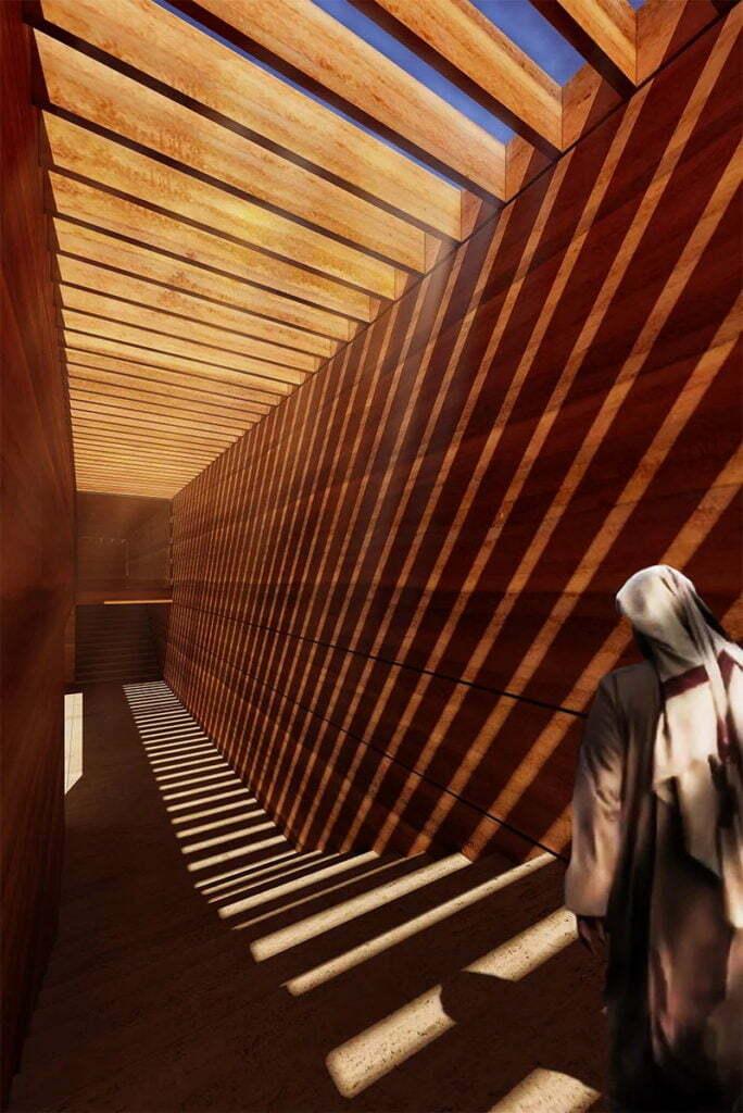 Earth House Iran Coutyard Wood Light Shade