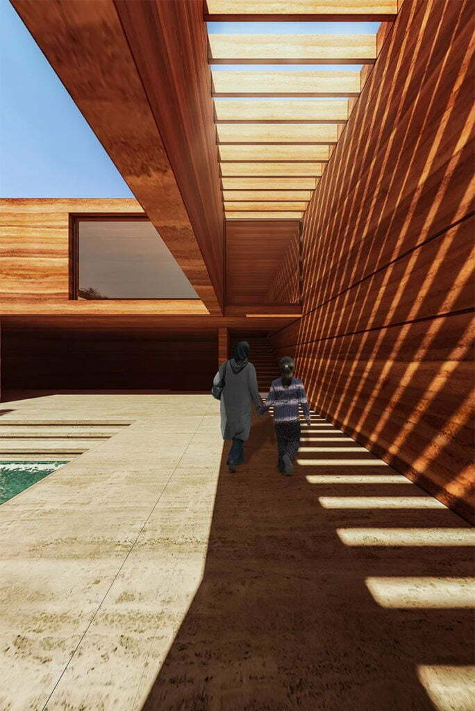 Earth House Iran Coutyard Wood Light Walk