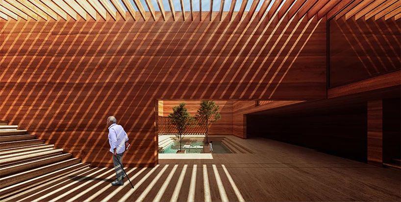 Earth House Iran Coutyard Wood Water