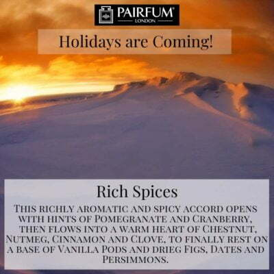 Holidays Coming Pairfum Fragrance Rich Spices Glacier Light