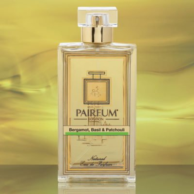 Eau De Parfum Bottle Bergamot Basil Patchouli Gold Liquid