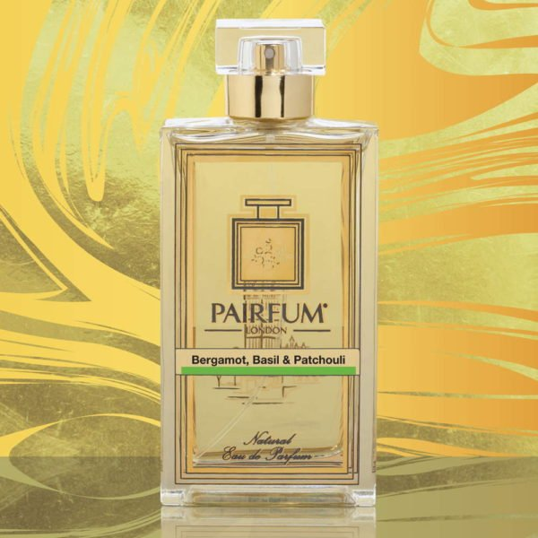Eau De Parfum Bottle Bergamot Basil Patchouli Gold Swirl