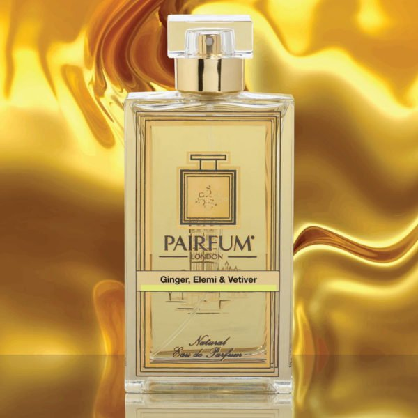 Eau De Parfum Bottle Ginger Elemi Vetiver Gold Liquid