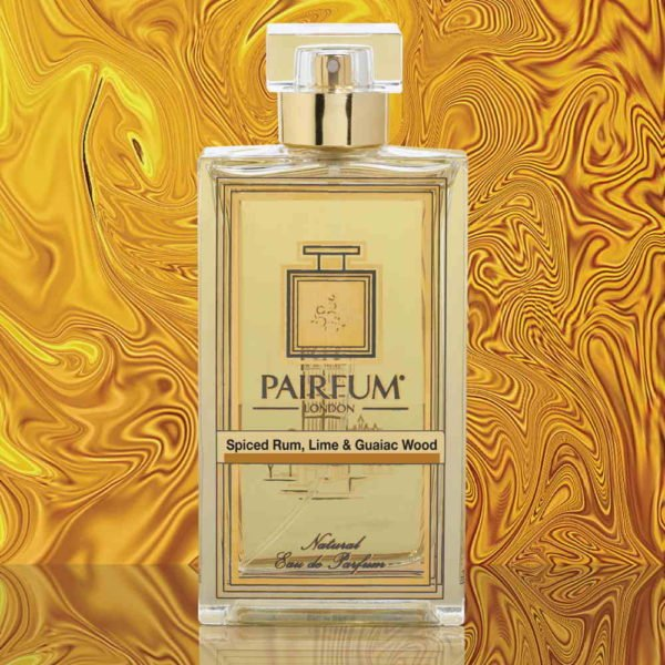 Eau De Parfum Bottle Spiced Rum Lime Guaiac Wood Gold Liquid