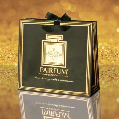 Pairfum Gold Black Luxury Carrier Bag Gift Classic Grain