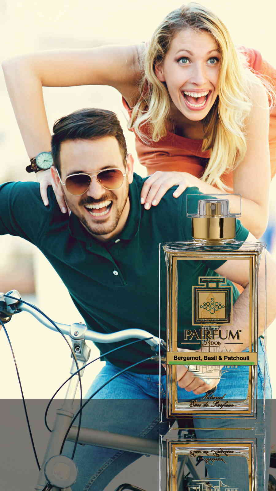 Eau De Parfum Person Reflection Bergamot Basil Patchouli Couple Bike 9 16
