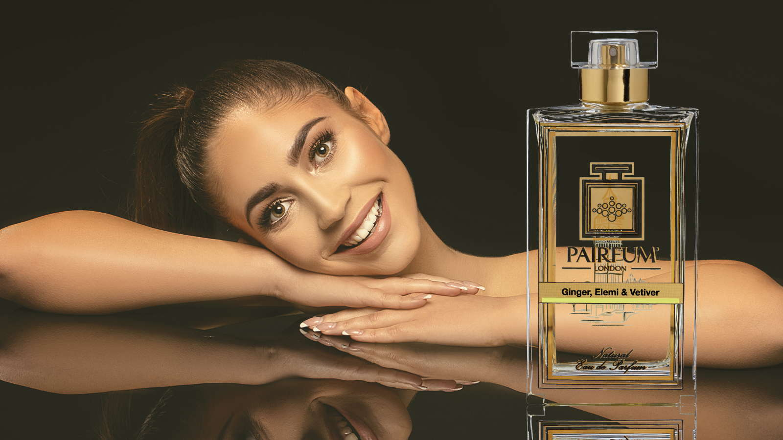 Eau De Parfum Person Reflection Ginger Elemi Vetiver Woman Smile 16 9
