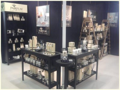 Pairfum at Springfair 2015 corner display with Luxury perfumed Candles Reed Diffusers Room Perfume Sprays