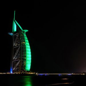 St Patricks Day Green Burj Al Arab Hotel Dubai