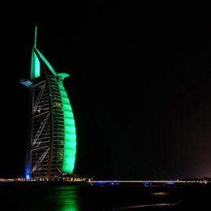 St Patricks Day Green Burj Al Arab Hotel Dubai